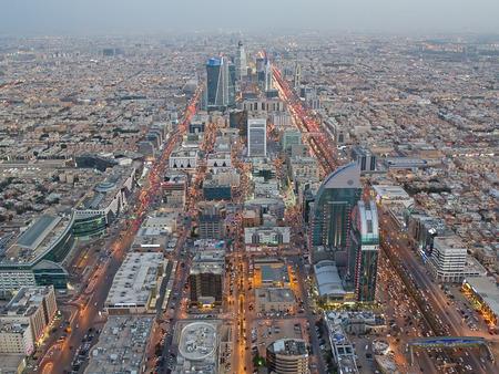 gcc: RIYADH - FEBRUARY 29: Aerial view of Riyadh downtown at the evening on February 29, 2016 in Riyadh, Saudi Arabia.