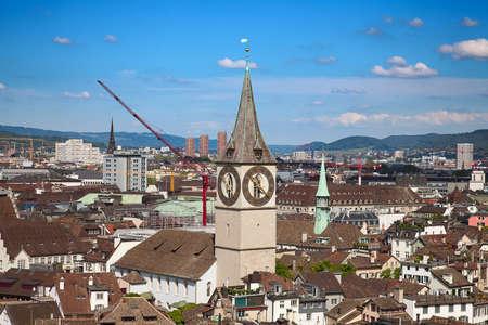 zurich: ZURICH - MAY 17: Aerial view of Zurich historical center on May 17, 2015 in Zurich, Switzerland.