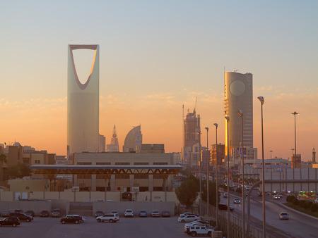 gcc: RIYADH - FEBRUARY 29: Sunrise over Riyadh downtown on February 29, 2016 in Riyadh, Saudi Arabia. Editorial