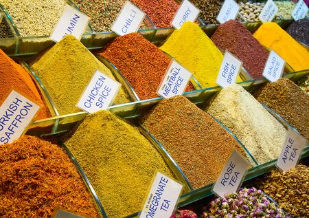 bazar: Spices and teas on the Egyptian market in Istanbul