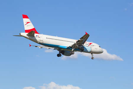 haul: ZURICH - JULY 18: A-320 Austrian Airlines landing in Zurich airport after short haul flight on July 18, 2015 in Zurich, Switzerland. Zurich airport is home port for Swiss Air and one of the biggest european hubs.