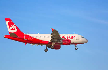 long haul journey: ZURICH - JULY 18: A-320 Air Berlin landing in Zurich airport after intercontinental flight on July 18, 2015 in Zurich, Switzerland. Zurich airport is home port for Swiss Air and one of the biggest european hubs.