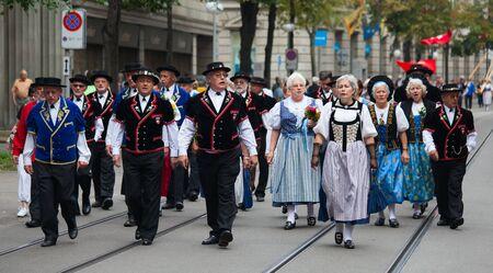 helvetica: ZURICH - AUGUST 1: Swiss National Day parade on August 1, 2009 in Zurich, Switzerland. Representatives of canton Appenzeller in a historical costumes.