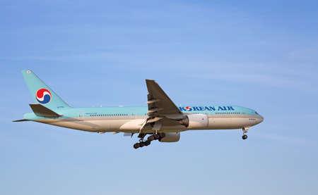 long haul journey: ZURICH - JULY 18: Boeing-777 Korean Air landing in Zurich after intercontinentall flight on July 18, 2015 in Zurich, Switzerland. Zurich airport is home for Swiss Air and one of biggest european hubs. Editorial