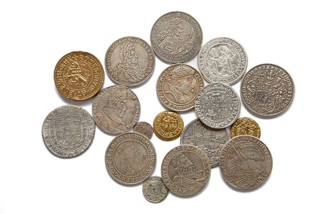 Collection of the medieval coins on the white background Stock Photo