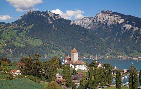 Spiez castle on lake Thun (Jungfrau region, canton Bern, Switzerland)