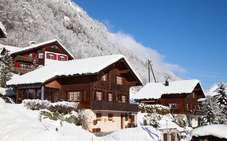 Winter holiday house in swiss alps