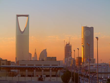 RIYADH - FEBRUARY 29: Sunrise overof Riyadh downtown on March 01, 2016 in Riyadh, Saudi Arabia. Editorial