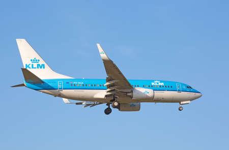 hubs: ZURICH - JULY 18: Boeing-737 KLM landing in Zurich after short haul flight on July 18, 2015 in Zurich, Switzerland. Zurich airport is one of biggest european hubs.