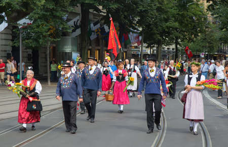 helvetica: ZURICH - AUGUST 1: Swiss National Day parade on August 1, 2016 in Zurich, Switzerland. Representatives of cantons in a historical costumes. Editorial