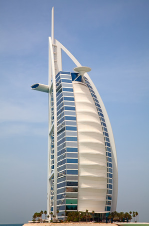 classed: DUBAI, UAE - APRIL 27: The grand sail shaped Burj al Arab Hotel taken April 27, 2014 in Dubai. The hotel is classed as one of the most luxurious in the world and is located on a man made island. Editorial