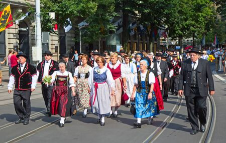helvetica: ZURICH - AUGUST 1: Swiss National Day parade on August 1, 2016 in Zurich, Switzerland. Representatives of canton Appenzeller in a historical costumes. Editorial