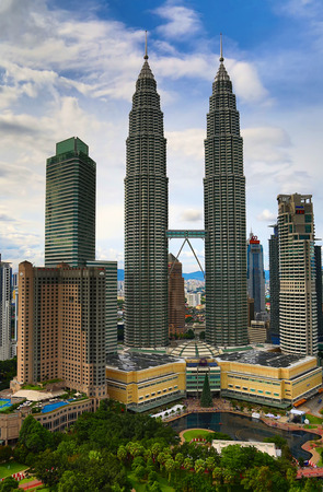 KUALA-LUMPUR - NOVEMBER 28: Petronas Twin towers on November 28, 2015 in Kuala Lumpur, Malaysia. Petronas towers were tallest in the world from 1998 to 2004 and remain the tallest twin towers.