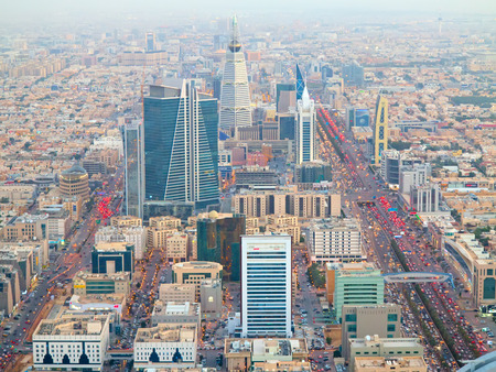 gcc: RIYADH - FEBRUARY 29: Aerial view of Riyadh downtown on February 29, 2016 in Riyadh, Saudi Arabia. Editorial
