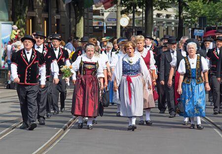 helvetica: ZURICH - AUGUST 1: Swiss National Day parade on August 1, 2016 in Zurich, Switzerland. Representatives of canton Appenzeller in a historical costume.