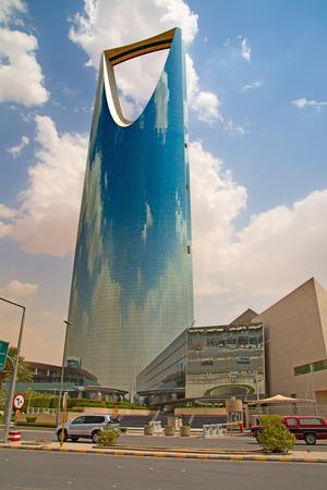 gcc: RIYADH - August 22: Kingdom tower on August 22, 2016 in Riyadh, Saudi Arabia. Kingdom tower is a business and convention center, shoping mall and one of the main landmarks of Riyadh city