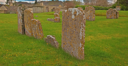 Tombstones on the abandoned cemetery