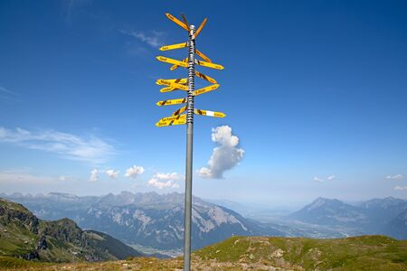 Milestone in the swiss alps, showing distances to major cities Stock Photo