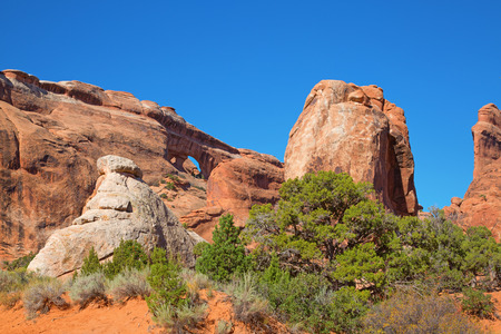 Rock formations in the Devils garden area of the Arches National park, Utah, USA