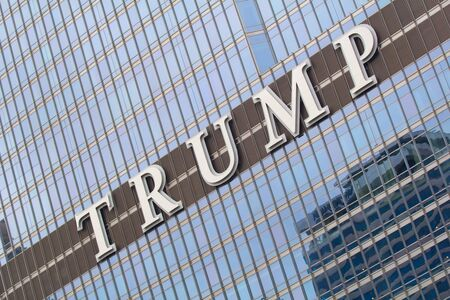Chicago, IL, USA - September 23, 2016: Facade of the Trump Tower in Downtown Chicago Editorial