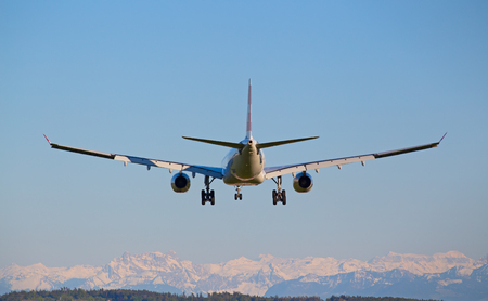 long haul journey: ZURICH - MAY 5: Swiss A-330 landing in Zurich airport after intercontinental flight on May 5, 2016 in Zurich, Switzerland. Zurich airport is home port for Swiss Air and one of the biggest european hubs.