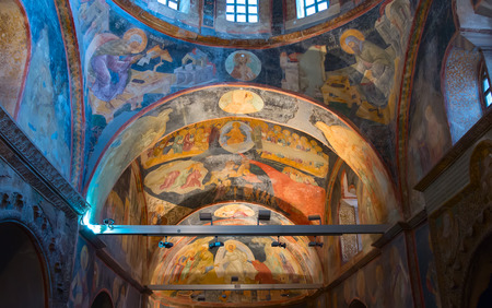 Interior of the Church of the Holy Saviour in Chora (Kariye camii) in Istanbul. Mosaic work completed by unknown artist between 1315 and 1321.