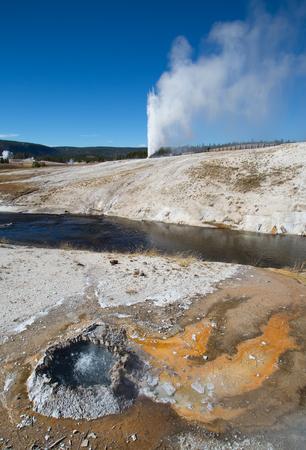 eruption: Cone geyser eruption in the Yellowstone national park, USA