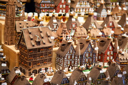 fachwerk: Traditional alsatian houses on the Christmas market