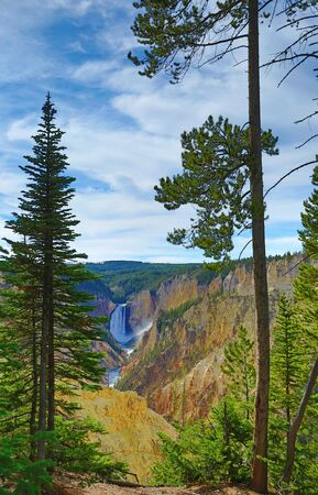 lower yellowstone falls: Waterfall and canyon in the Yellowstone National Park, Wyoming, USA Stock Photo