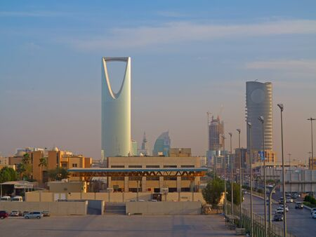 RIYADH - FEBRUARY 29: Sunset over Riyadh downtown on February 29, 2016 in Riyadh, Saudi Arabia.