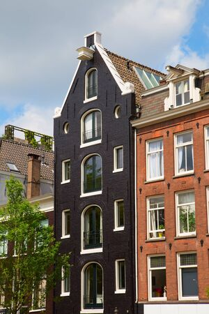 retailers: Traditional houses of the Amsterdam, Netherlands Stock Photo