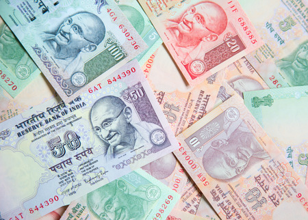 legal tender: Collection of the Indian banknotes Stock Photo