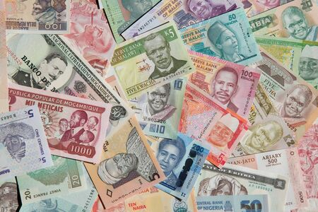 mozambique: Variety of the African banknotes Stock Photo