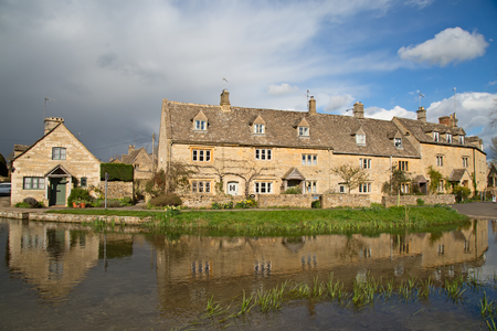 Ancient village Lower Slaughter in the Cotswolds region