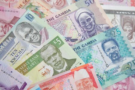 Variety of the African banknotes Stock Photo