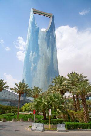 KSA: RIYADH - August 22: Kingdom tower on August 22, 2016 in Riyadh, Saudi Arabia. Kingdom tower is a business and convention center, shoping mall and one of the main landmarks of Riyadh city