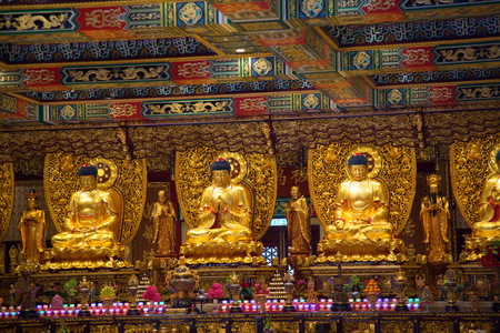 Interior of the Po Lin monastery on Lantau Island (Hong Kong) Stock Photo - 82711313