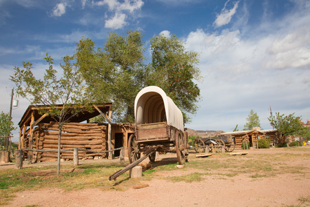 Historial voorpost van het Wilde Westen Pioniers op de grens tussen Arizona en Utah