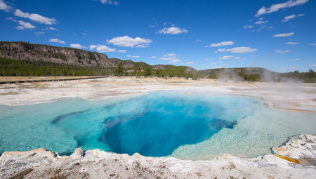 Colorful Sapphire hot water pool in the Yellowstone National park, USA