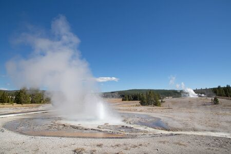 Sawmil geyser eruption in the Yellowstone national park, USA Stock Photo