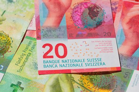 Collection of the new swiss banknotes (issued in 2017) Reklamní fotografie