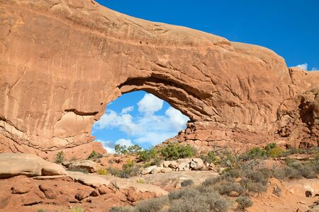Famous south window arch in the Arches National park, Utah, USA Stock Photo