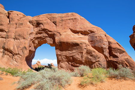 Famous Pine tree arch in the Arches National park, Utah, USA Stock Photo