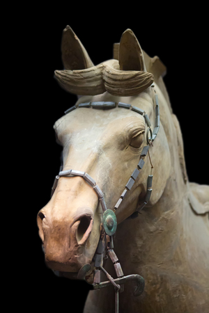 army face: Famous Terracotta Army in Xian, China. The mausoleum of Qin Shi Huang, the first Emperor of China contains collection of terracotta sculptures depicting the armored men and horses. Editorial