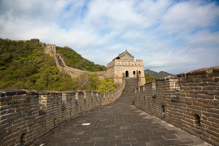 Famous Great Wall of China, section Mutianyu, located nearby Beijing city Фото со стока