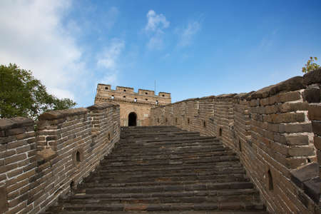 boundary: Famous Great Wall of China, section Mutianyu, located nearby Beijing city Stock Photo