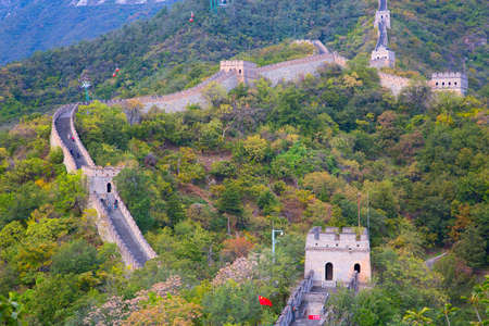 mutianyu: Famous Great Wall of China, section Mutianyu, located nearby Beijing city Stock Photo