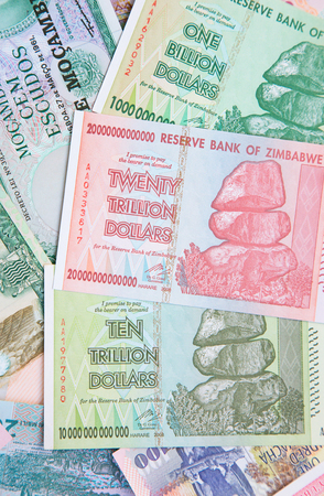 Trillion range banknotes of Zimbabwe after hyperinflation