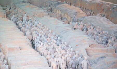 XIAN, CHINA - October 8, 2017: Famous Terracotta Army in Xian, China. The mausoleum of Qin Shi Huang, the first Emperor of China contains collection of terracotta sculptures depicting the armored men 写真素材