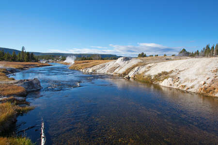 Famous Firehole river in the Yellowstone National park, USA Stock Photo